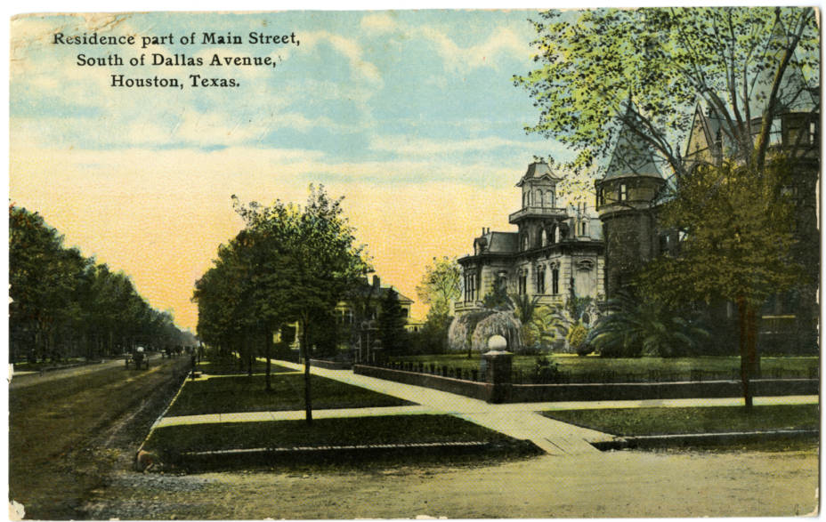 Postcard of Main Street in the 1890s (near Foley's/Macy's)